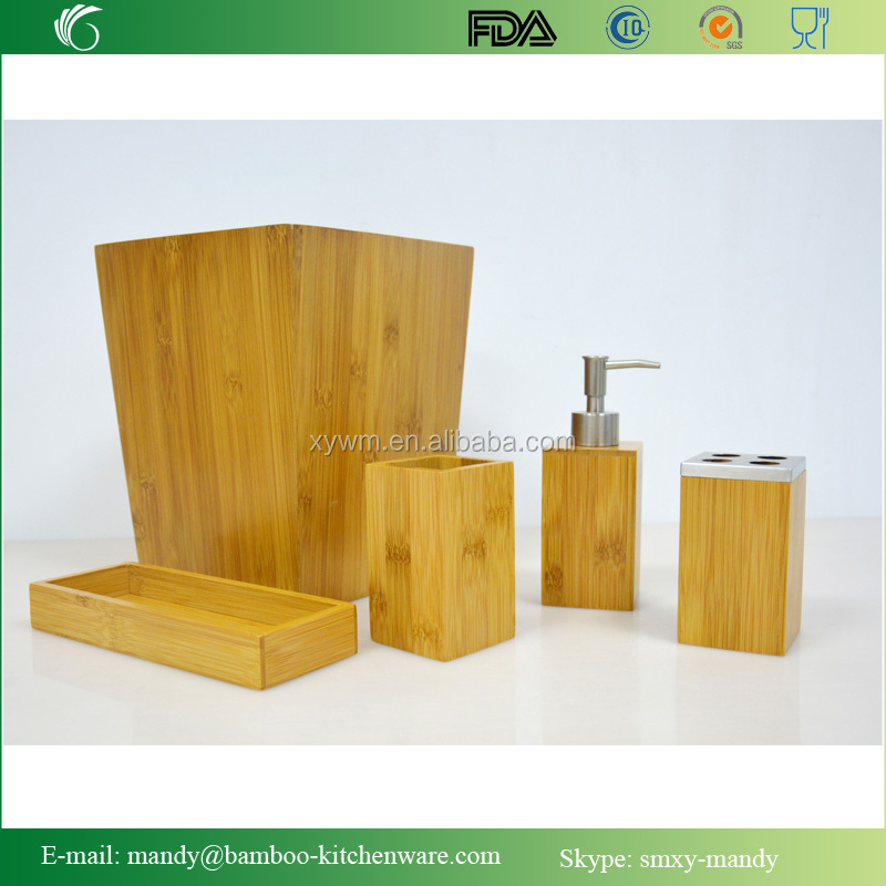 2015 New Style Modern design 4 pcs bamboo bathroom accessory set