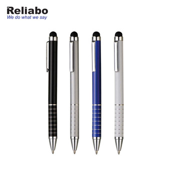 Reliabo Free Sample Cheap Promotional Custom Print Logo printing Advertising Metal Ballpoint Pen With Stylus