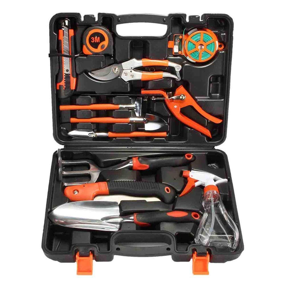 Garden Tools,12 Piece Gardening Tool Set,Plant Care Hand Tool All-In-One Kit,15 Inch Carrying Case,Shovel,Rake,Grass Shear,Measuring Tape,Pruning Saw,Etc.Gifts For Gardener