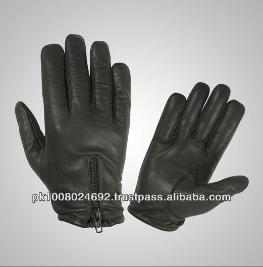 Police gloves made of black cow grain leather