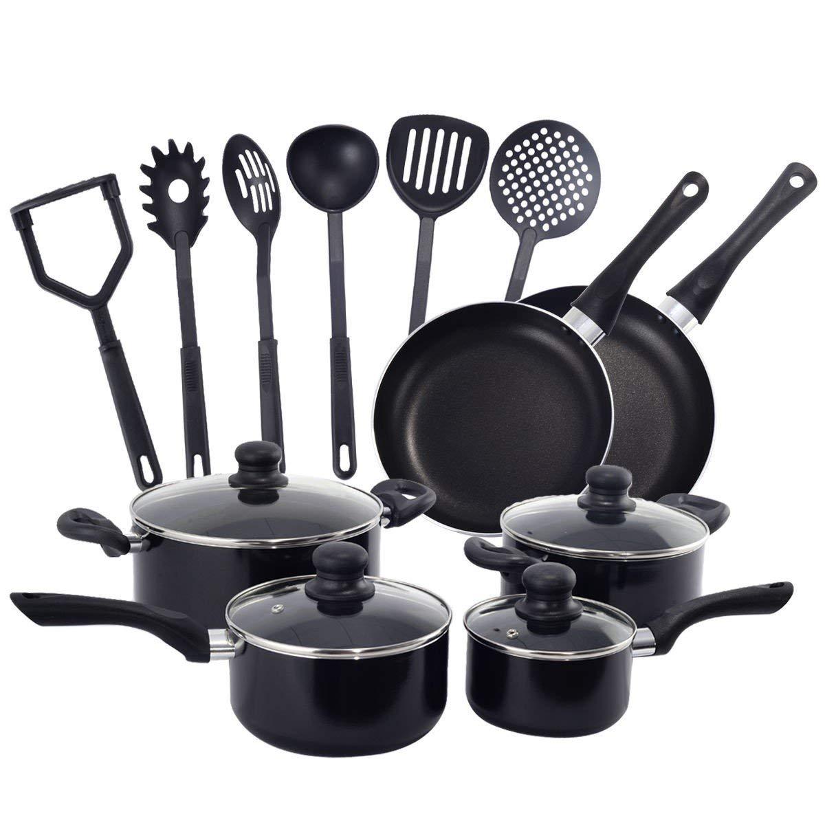 BeUniqueToday 16 Pieces Non Stick Cooking Kitchen Cookware Set, Professional Non-Stick 16 Pieces Kitchen Cookware Set, Kitchen Cookware Set With Aluminum Construction, Scratch-Resistant Cookware Sets