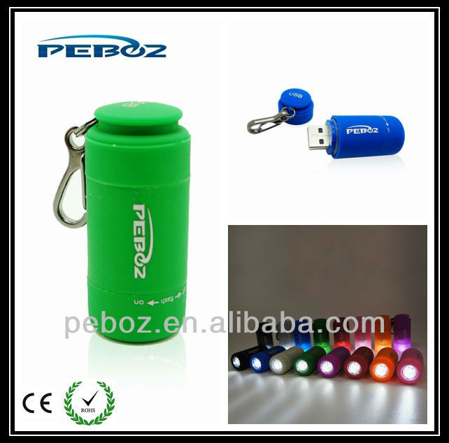 portable waterproof usb novelty light with keychain