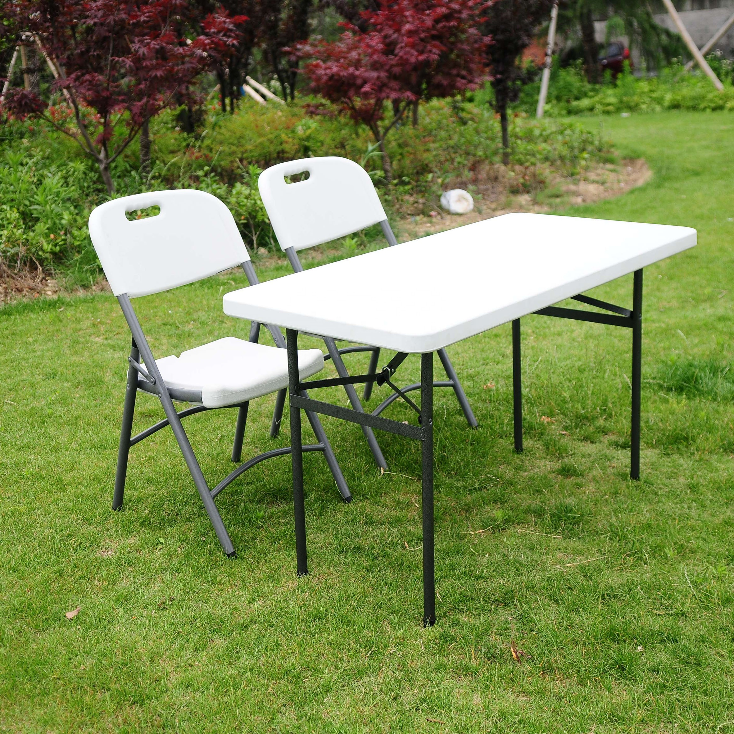 Folding Table With Handle.4 Multi Purpose Utility Center Fold Folding Table Carrying Handle White Granite Top Color Gray Frame Buy Table Plastic Table Outdoor Furniture