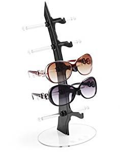 Black Foxnovo Durable Desktop Display Stand Holder Display Rack for 6 Pairs Eyeglasses Sunglasses
