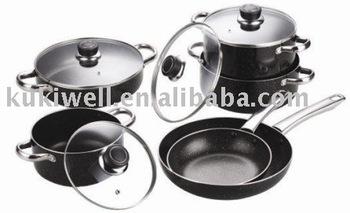 Aluminium kitchen cookware set with marble coating buy for Model kitchen set aluminium