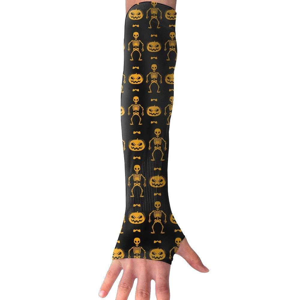 Halloween Pumpkin Skeleton Unisex UV Protection Cooling Arm Sleeves For Men Women Sunblock Cooler Protective Sports