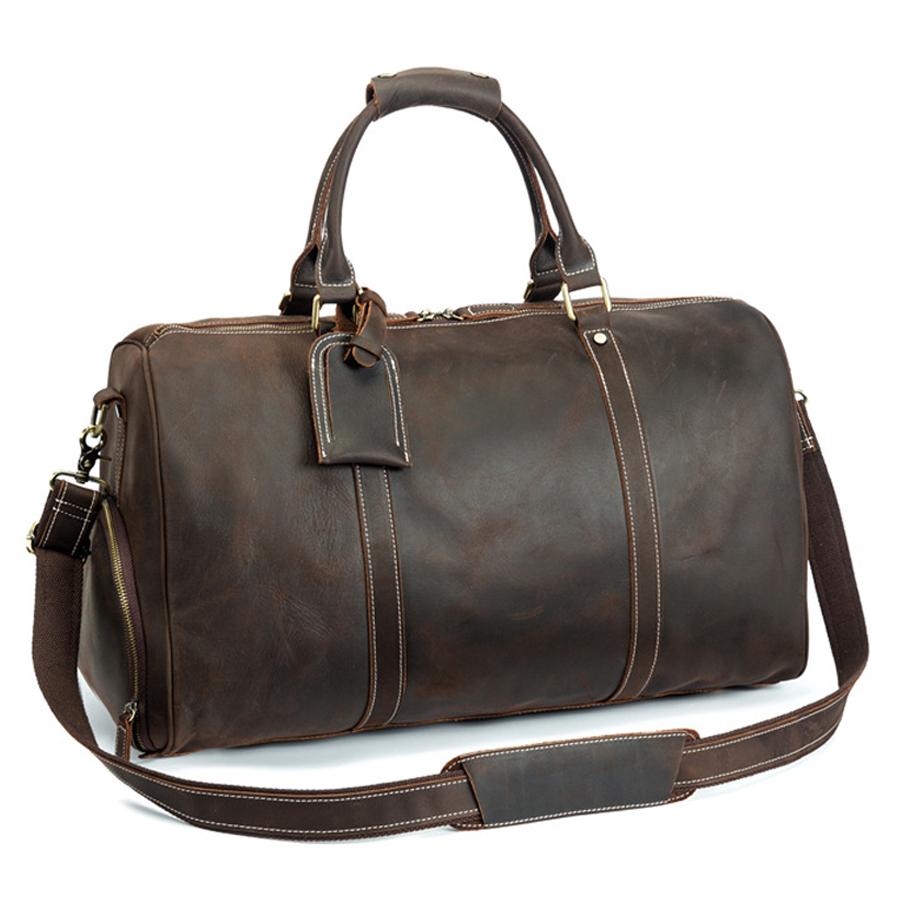 शेयरों में 100% वास्तविक पूर्ण अनाज पागल हार्स चमड़ा mens लैपटॉप duffle बैग के साथ जूते के डिब्बे