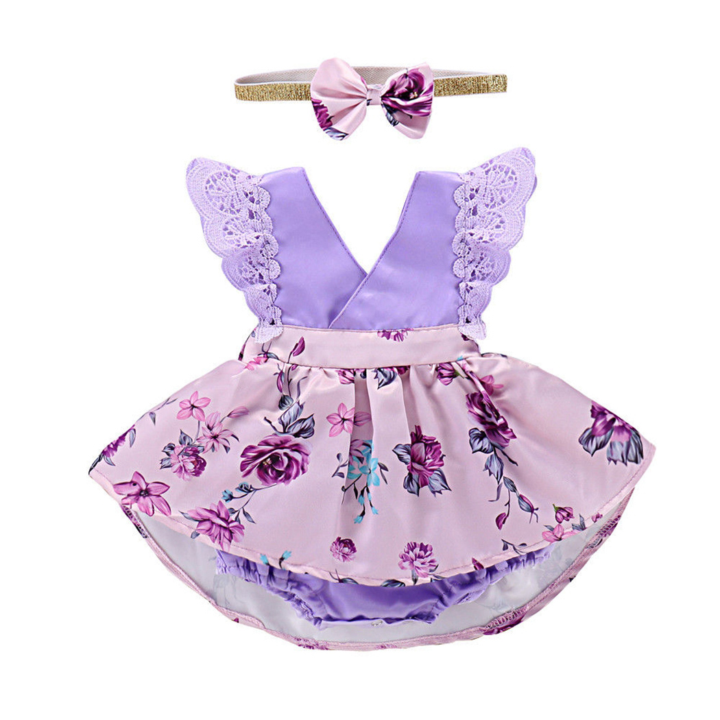 United Purple Lace Flower V Neck Infant Kids Baby Girl Sisters Matching Jumpsuit Rompers Dress Outfit Clothes Summer Floral Print Dress Big Clearance Sale Mother & Kids