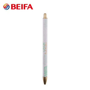 Beifa Brand PKB80004 Printed Pattern Retractable Metal Aluminum Ballpoint Pen Without Clip