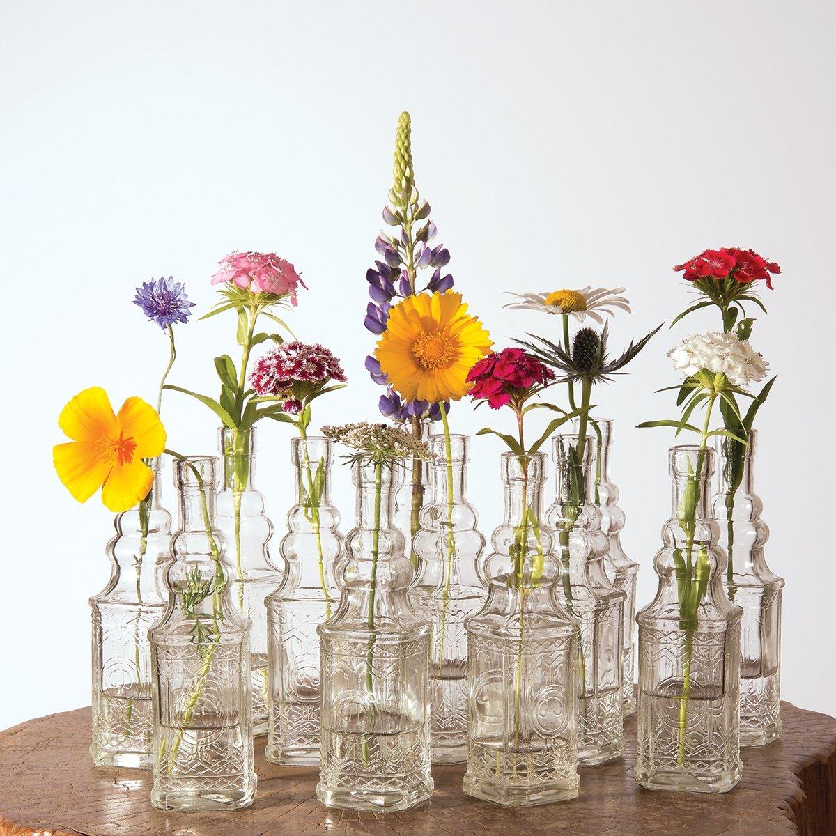 Cheap bulk vases for centerpieces find bulk vases for get quotations luna bazaar small vintage glass bottle set 65 inch square design clear floridaeventfo Choice Image