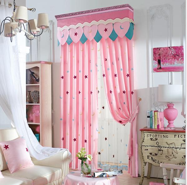 Las estrellas de color rosa cortina tel n de fondo para - Cortinas nina dormitorio ...