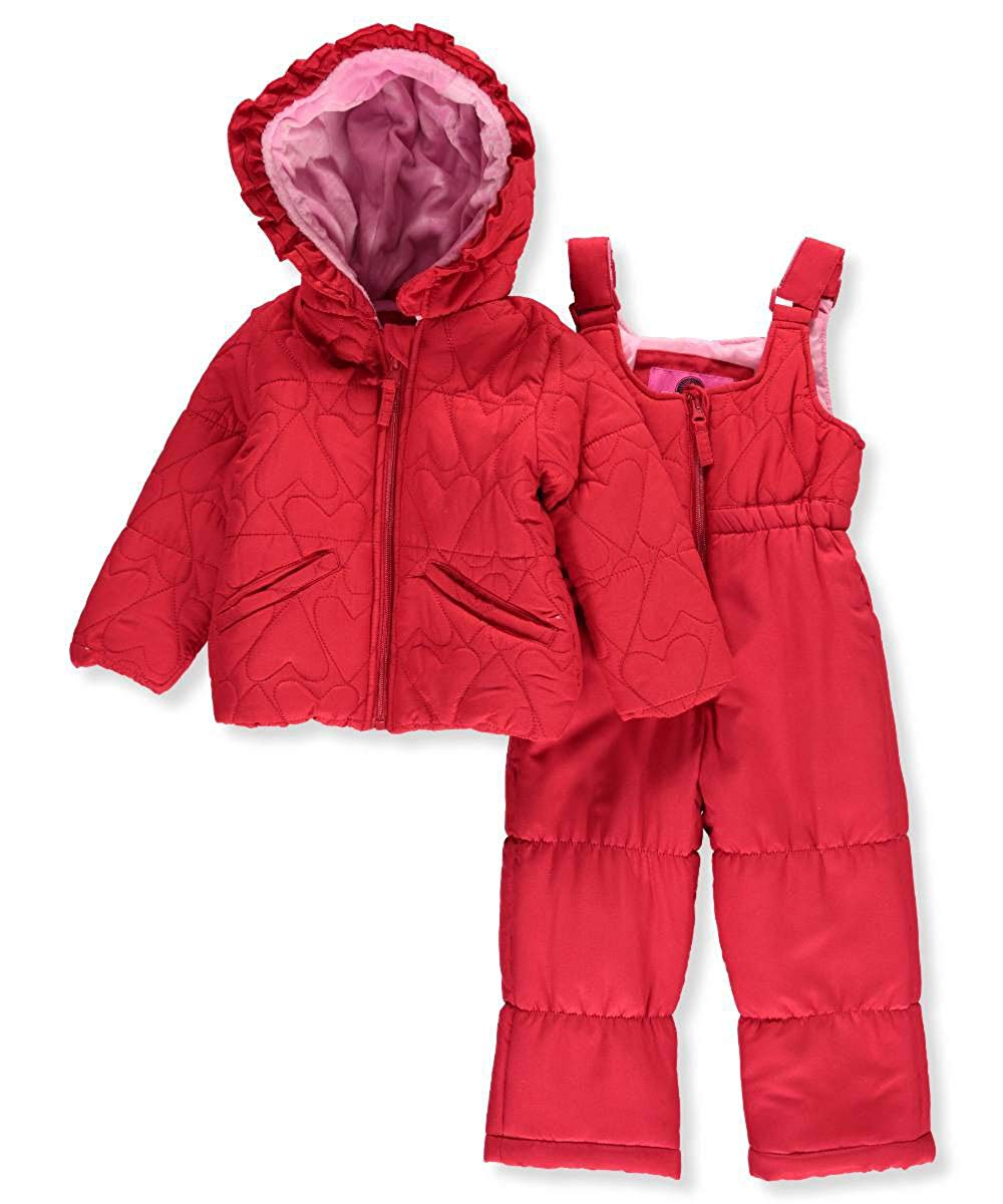 d90c3b425 Get Quotations · Weatherproof Infant Girls Red Heart 2 PC Snow Bibs & Coat  Set Snowsuit