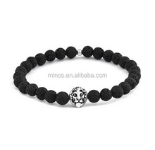 Lion Head Bracelet - Men's Beaded Bracelet - Lava Stone Bracelet