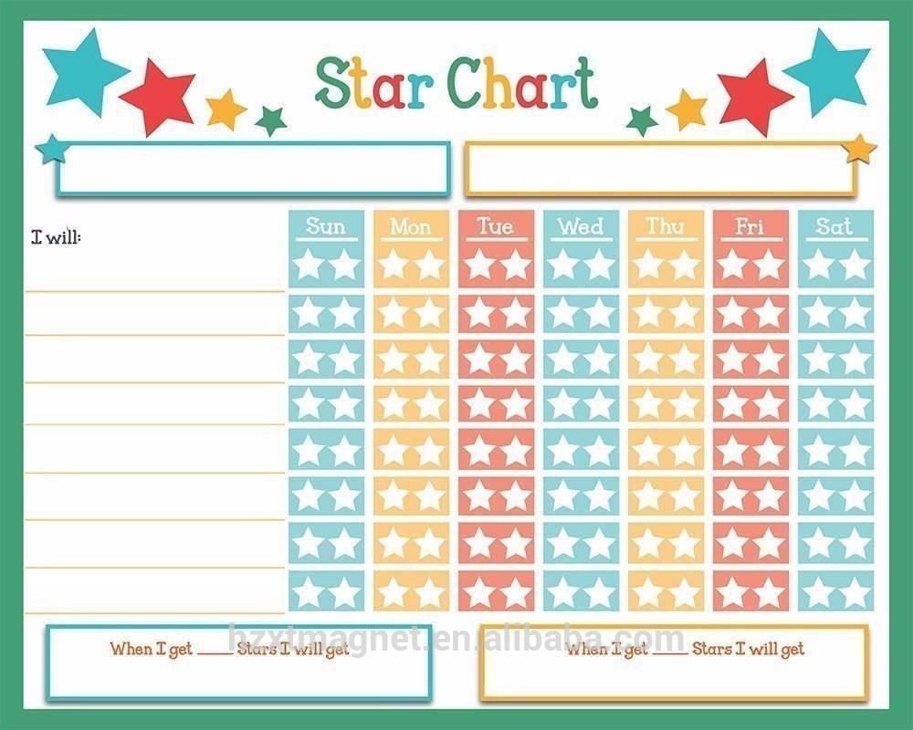 Magnetic Reward Star Chart For Children With 40 X 30cm