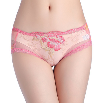 Lace Sexy Net Yarn Panties Low waist within Temptation Underwear Women Lace Embroidery Transparent Panties