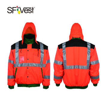 Mixed color security reflective safety rain jacket with detachable hooded df8b2a6a2fa