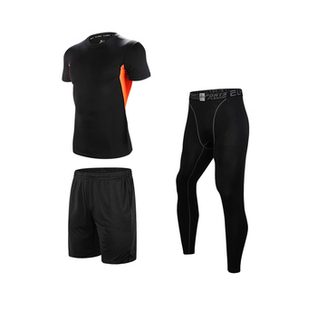 Men's Fitness Wear Set  Training Clothing Sport Three Piece Set for men