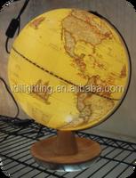 New earth globe shape table lamp wooden base LED rotating desk lamp