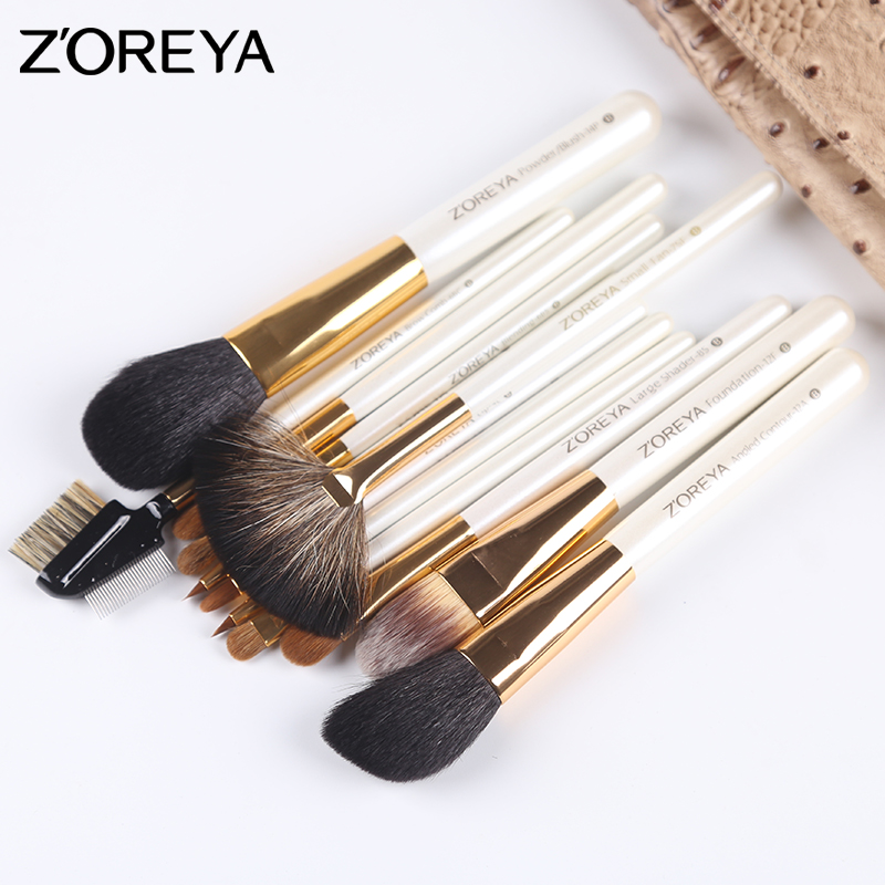 High quality ecofriendly nylon hair wood handle 12 pieces cosmetic brushes set