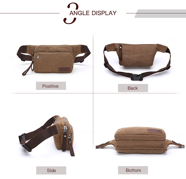 2018 solid color  fanny pack  fashion canvas fanny pack leisure women fanny pack