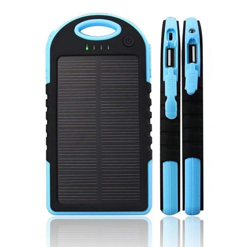 1pc Waterproof Solar Charger 8000MAh Mobile Phone Solar Power Bank Portable Charger 2USB LED Ultra Thin Portable Solar Battery Charger Solar Panel Dust-Proof,Anti-Drop (Blue)