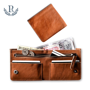 Top quality factory price custom mens leather with coin case zip slim wallet