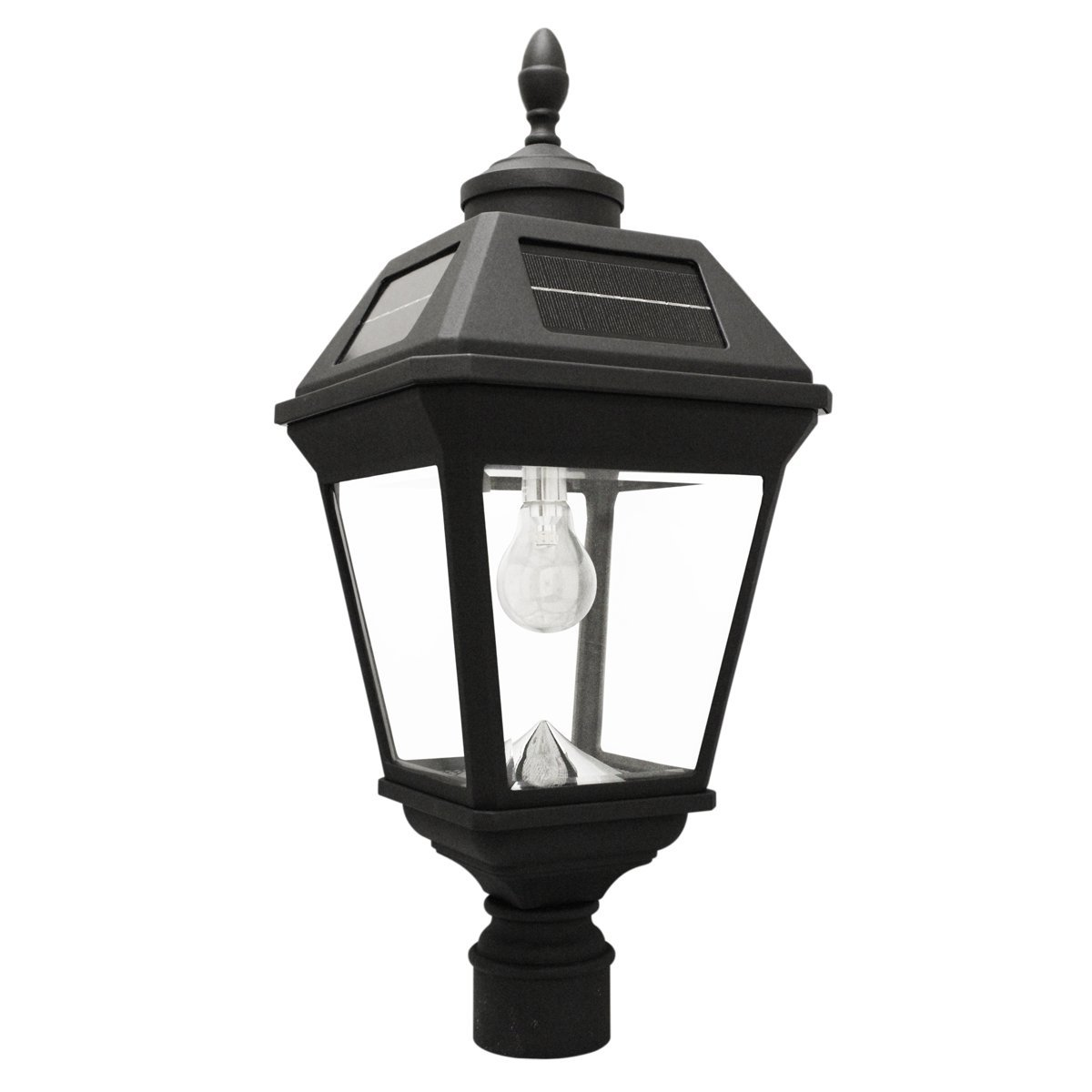 Gama Sonic Imperial Bulb Solar Outdoor Post Light GS-97B-F - Black Finish