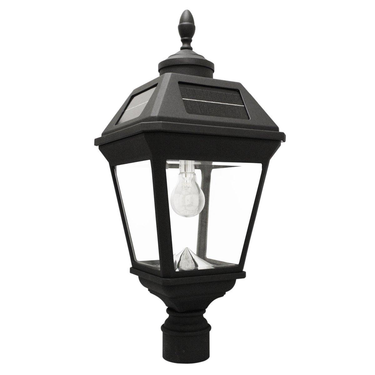 Gama Sonic Imperial Bulb Solar Outdoor Post Light GS-97B-F - Black Finish