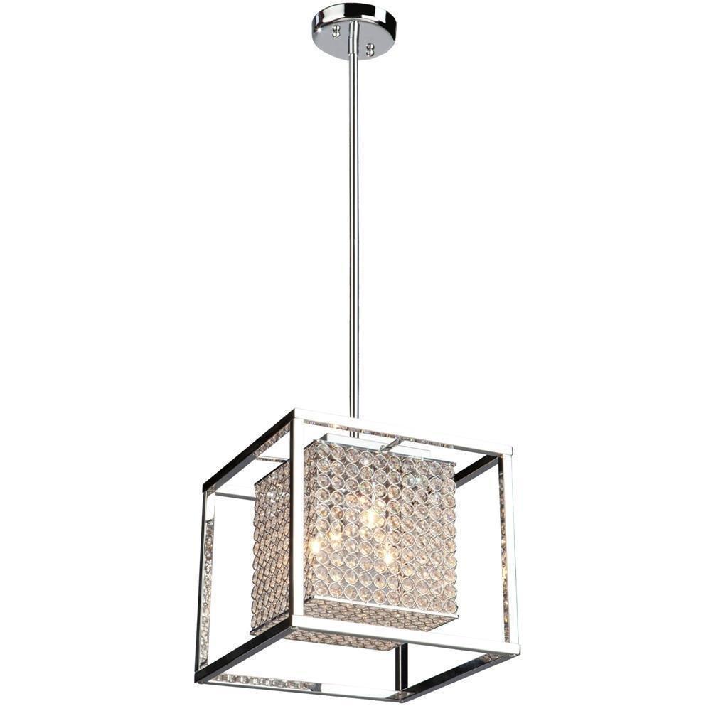 Usa Warehouse New 4 Lamp Crystal Square Shade Pendant Chrome Kitchen Lighting Fixture Light