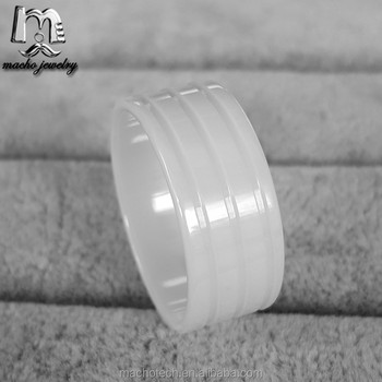 High Polished Three Grooves Ring Blanks white Ceramic Rings for gold inlay