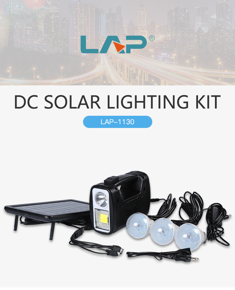 LAP Dc 3w 9v Polycrystalline Emergency Portable Solar System Home Power Kit