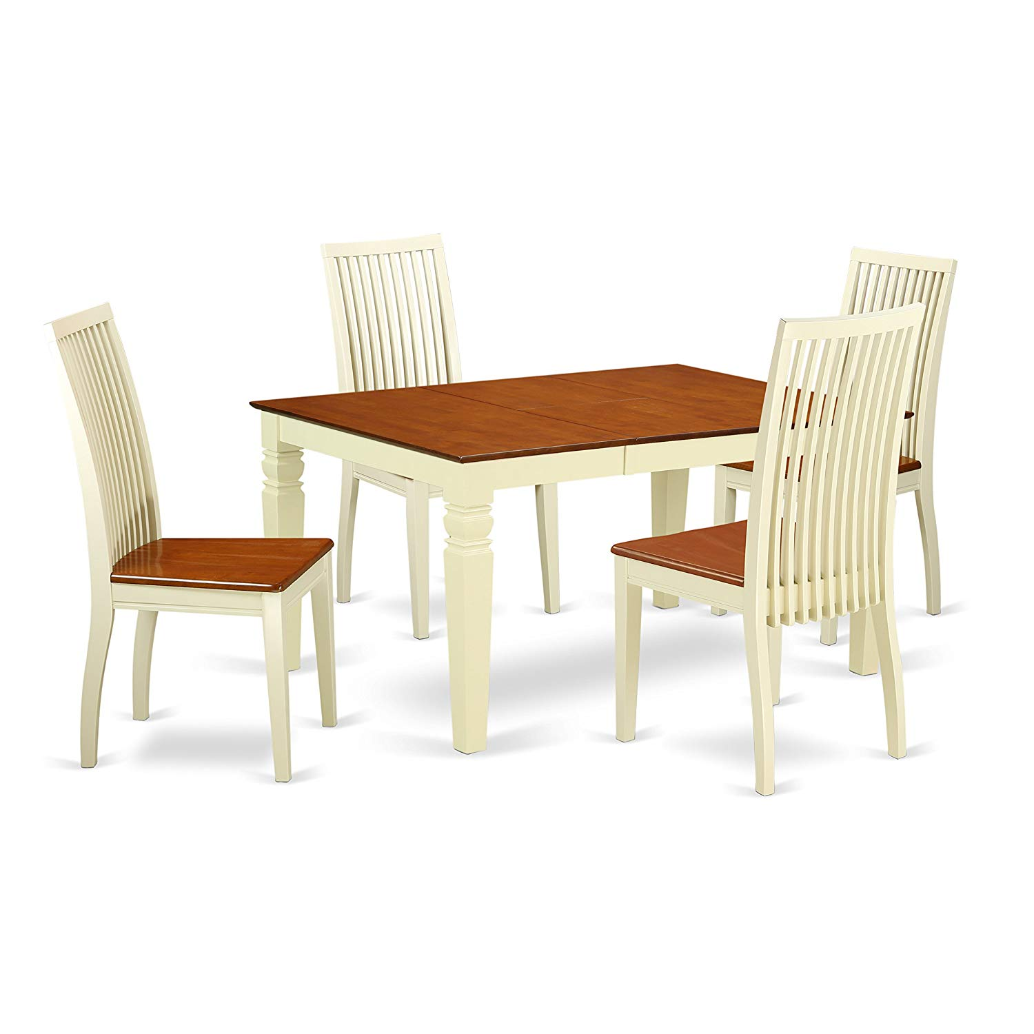 East West Furniture WEIP5-BMK-W 5 Piece Dinette Set with One Weston Dining Room Table & 4 Solid Wood Seat Chairs, Buttermilk/Cherry