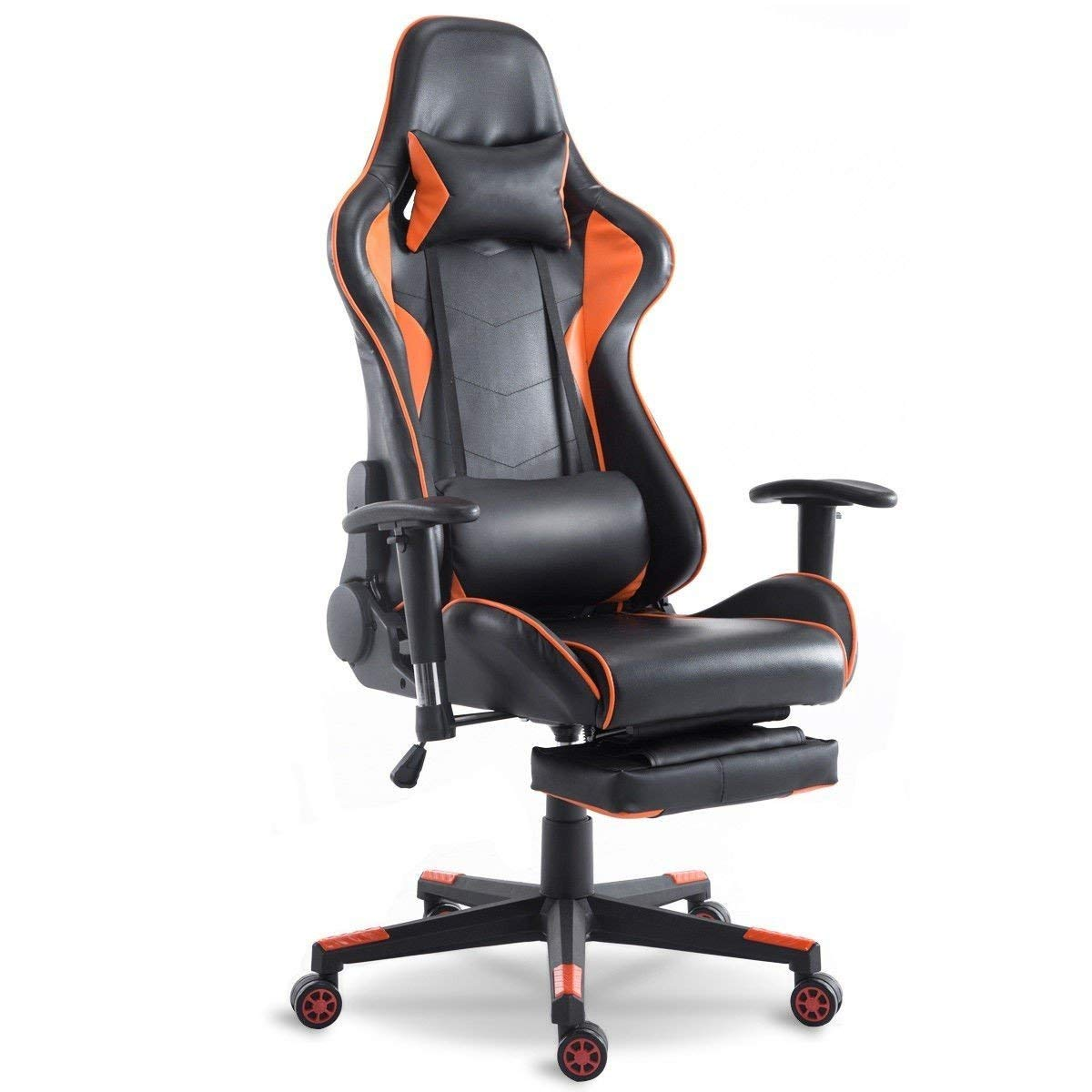 Svitlife Orange High Back Racing Recliner Gaming Chair with Footrest Gaming Chair Footrest Office Comfort 1pc Us Gameroom