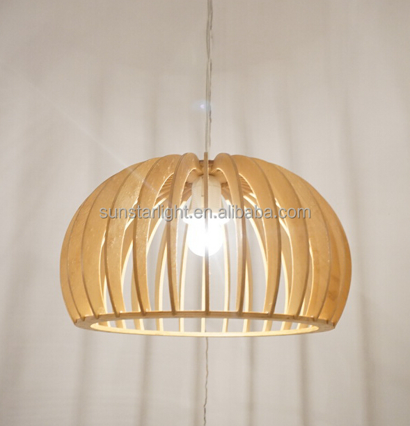 Ce Wood Pendant Lamp For Hotel Restaurant Projects Decoration With E27 Light Holder Parts