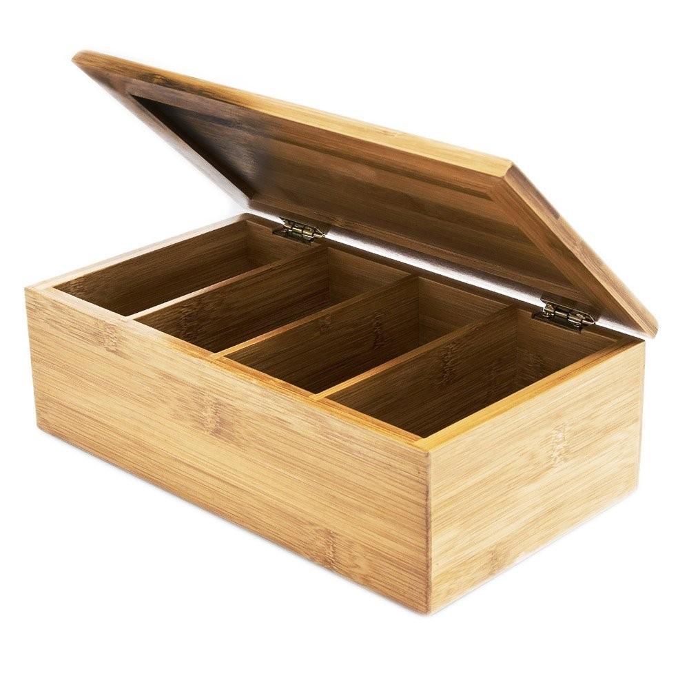 4 Compartments Custom Bamboo Wood Tea Bag Box Organizer 2