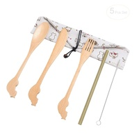 Disposable Airline Camping Travel Portable Bamboo Cutlery Set