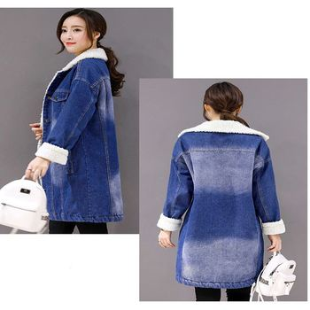 Loose Denim Coat Long Sleeves Pockets Warm Casual Thicken Jacket Outerwear Blue lambswool Coat Women