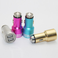 Hot selling New aluminium alloy dual portable mobile smart phone usb car charger for iphone android
