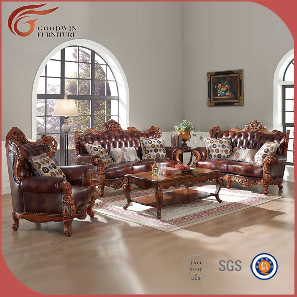 Elegante S Lido De Madera Tallado A Mano Sof Simple Sala Muebles  # Muebles Sala Set