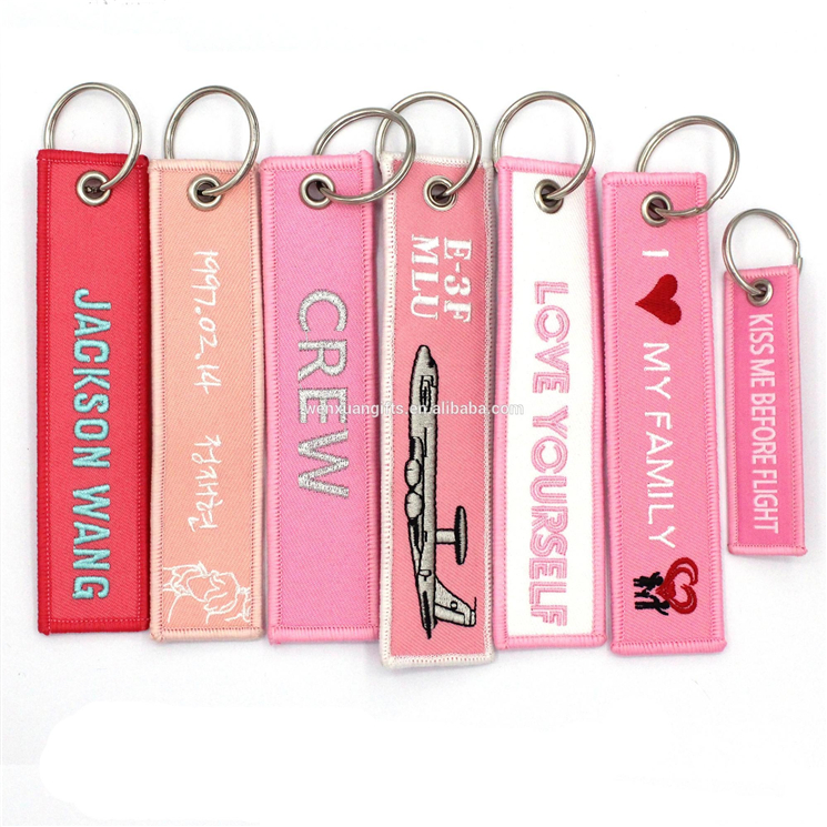 Wholesale custom made embroidery usa flight souvenir remove warning personalized keychain