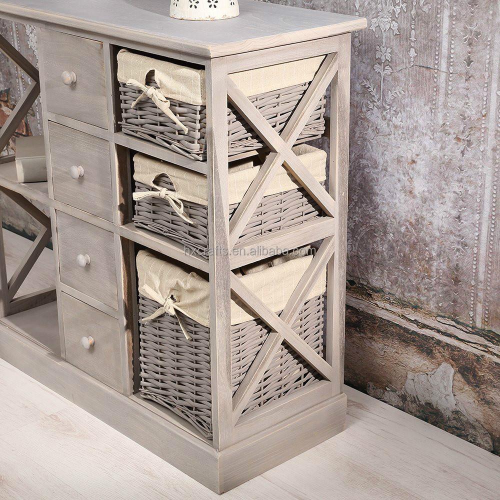 Shabby chic gris nouveau panier en osier buffet meuble bar tables de bar id d - Panier osier couleur ...