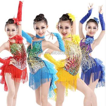 bf21ae61096e0 Chaude Sexy Frange rouge enfants Robe de Danse Latine Pour Les Filles Gland  Salsa Enfants Robes