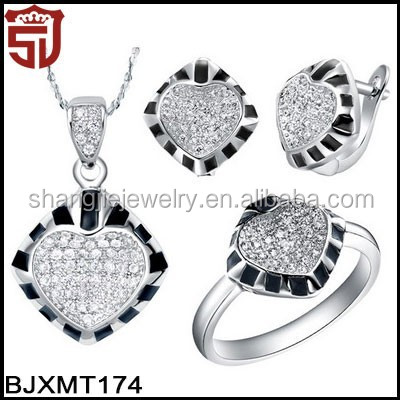 SJ High Quality Copper 18K Gold Plating Silver Cubic Zirconia Necklace Earrings and Ring Dubai Epoxy Zebra Crossing Jewelry Set