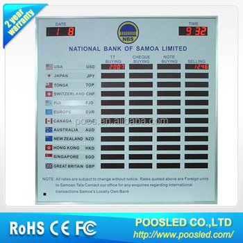 Exchange Currency Panel Screen Red Led Money Rate Display Board Bank