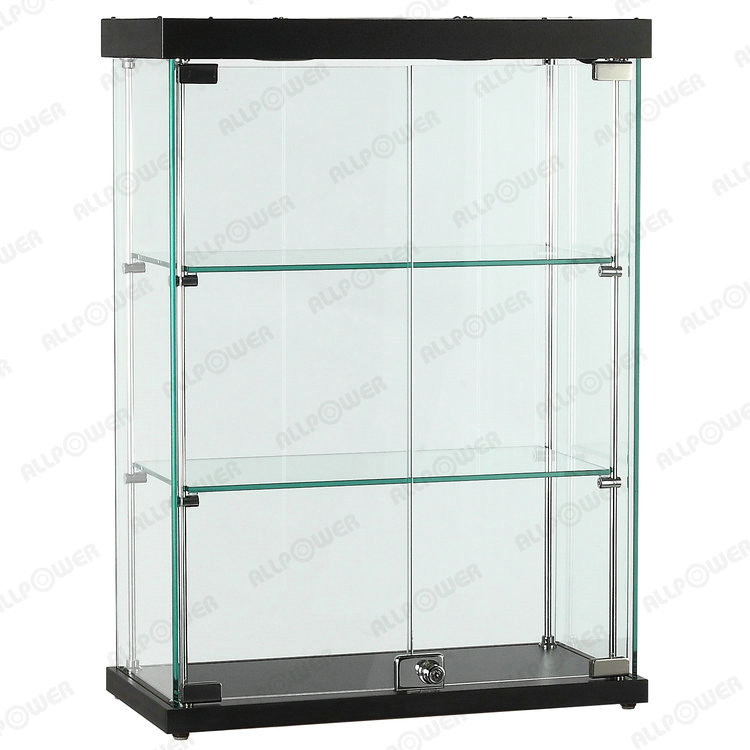 Ultra clear glass display cabinet, Tempered glass showcase, MDF laminated counter top showcases (C04B)