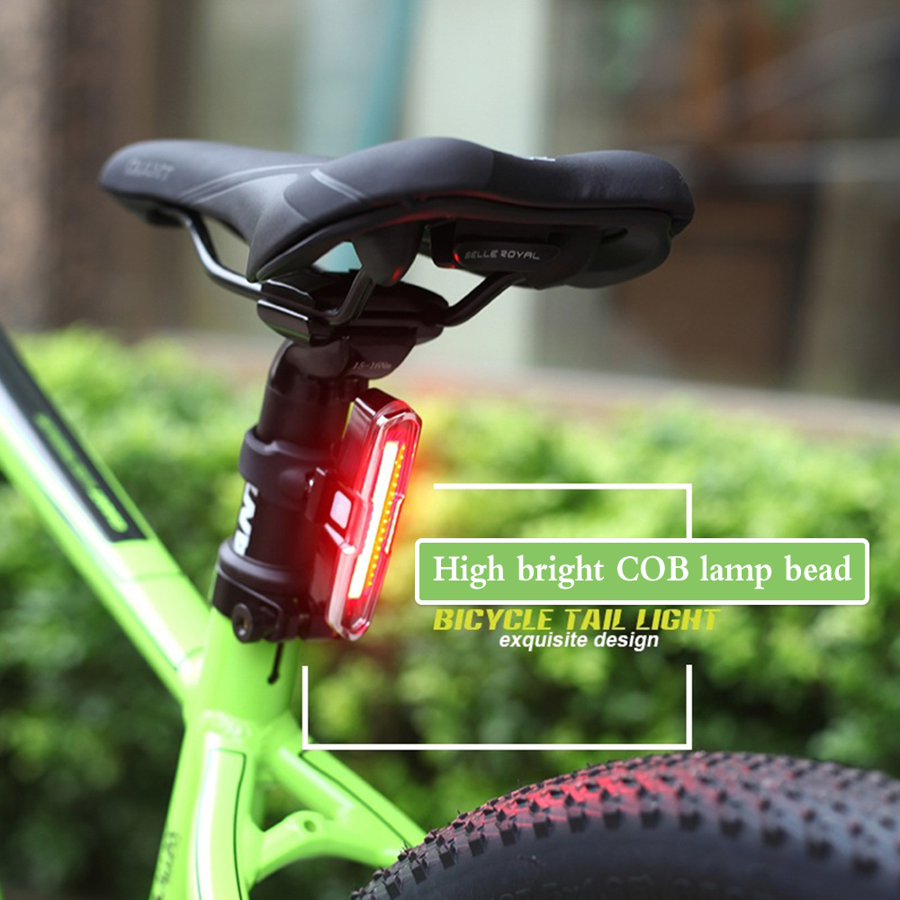 Red+Blue USB Rechargeable Ultra Bright COB Bike Bicycle Rearlight Lamp DURABLE