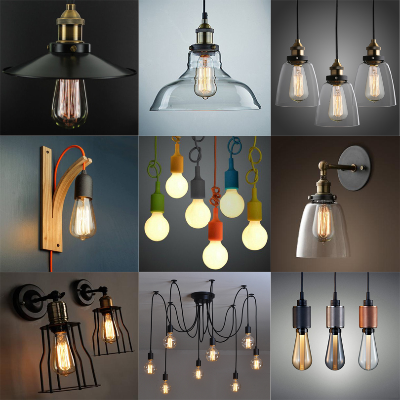 Vintage Aluminum Glass Copper Silicone Metal Pendant Lamp for Decoration