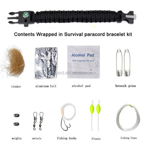 Whosale Outdoor Gear Escape Survival Paracord Bracelet With Flint / Whistle / Compass / Scraper