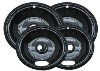 Range Kleen P10124XN Porcelain Universal Drip Pans Set Of 4 Containing 2 Units P101, P102, Black, Set of 2