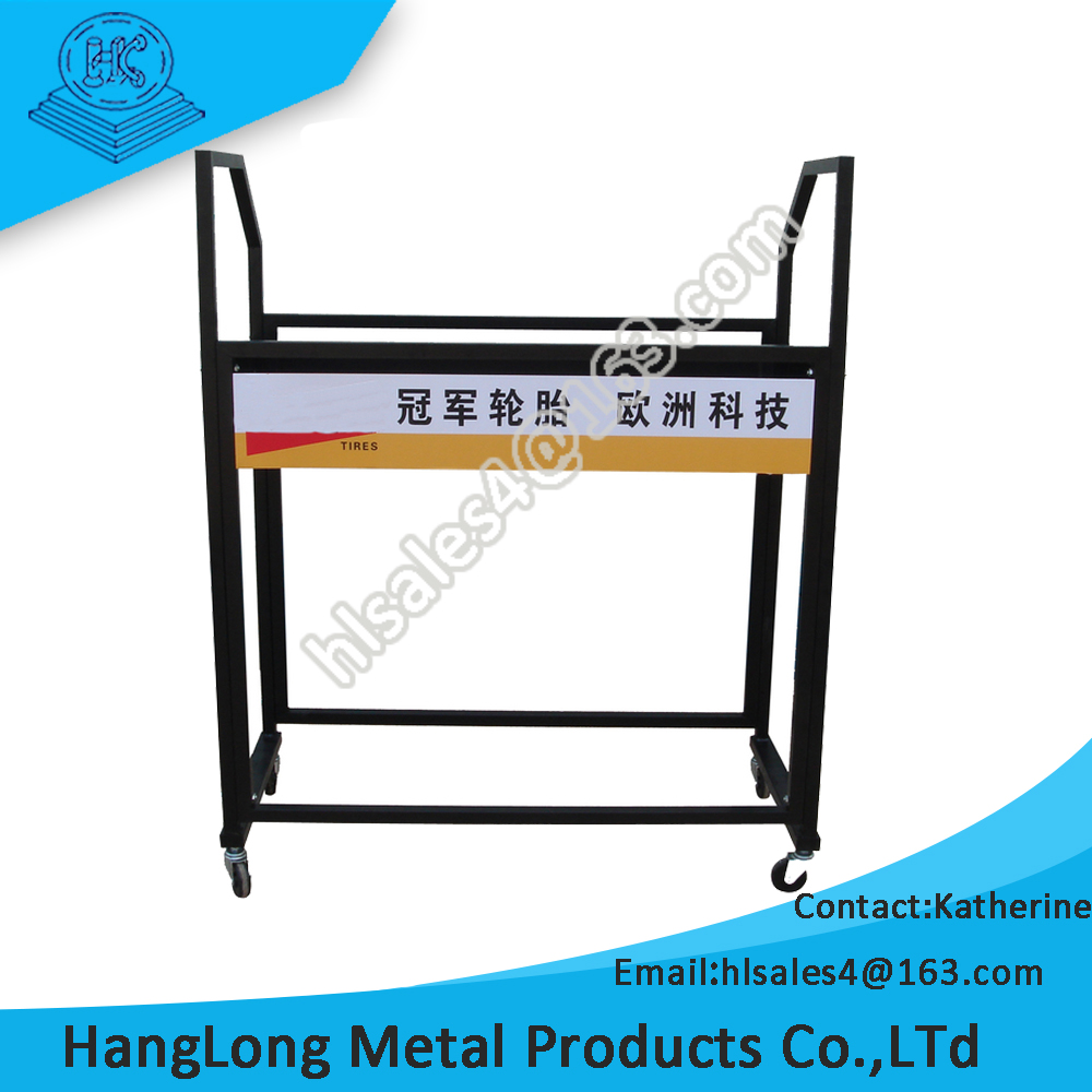showroom use heavy duty tire display stand with advertising